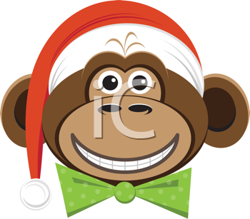 Royalty Free Clipart Image of a Monkey Wearing A Santa Hat