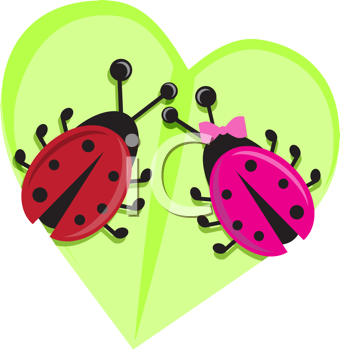 Royalty Free Clipart Image of Two Ladybugs on a Leaf