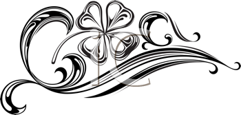 Royalty Free Clipart Image of a Banner With a Shamrock