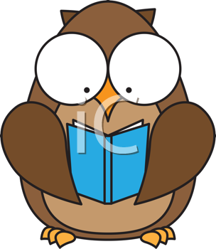 Royalty Free Clipart Image of an Owl Reading a Book