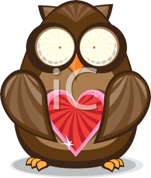 Royalty Free Clipart Image of an Owl With a Valentine