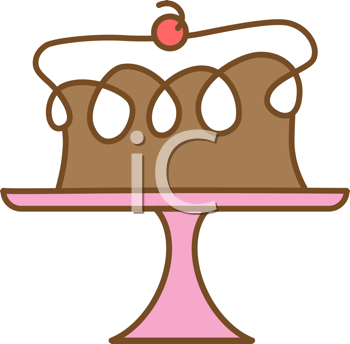 Royalty Free Clipart Image of a Cake on a Plate
