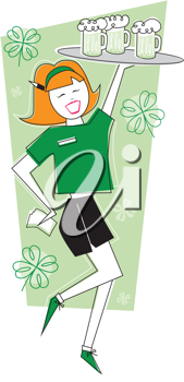 Royalty Free Clipart Image of a Waitress With Beer