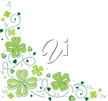 Royalty Free Clipart Image of a Clover Border