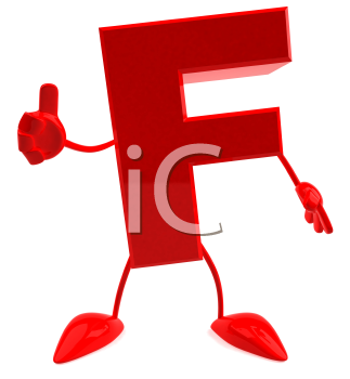 Royalty Free 3d Clipart Image of the Letter F Giving a Thumbs Up