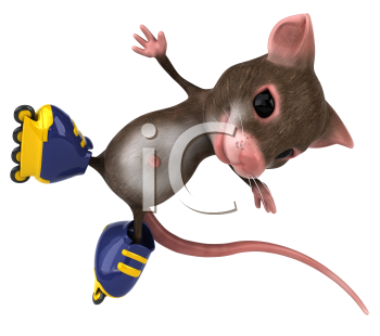 Royalty Free Clipart Image of a Mouse Doing Stunts on Rollerblades