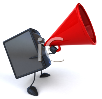 Royalty Free 3d Clipart Image of a Computer Speaking into a Megaphone