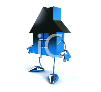 Royalty Free 3d Clipart Image of a House Character