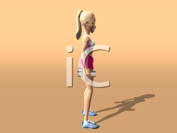 Royalty Free 3d Clipart Image of a Girl Exercising
