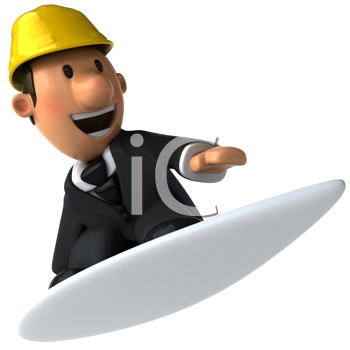 Royalty Free Clipart Image of a Man in a Hardhat and Suit on a Surfboard