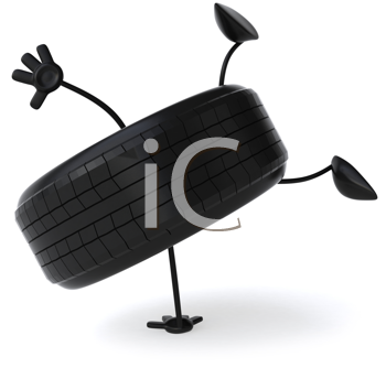 Royalty Free Clipart Image of a Tire Doing a Handstand