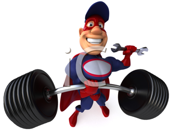 Royalty Free Clipart Image of a Superhero Mechanic With a Barbell