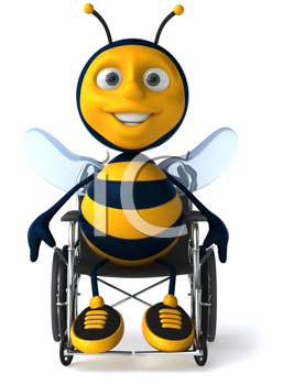 Royalty Free Clipart Image of a Bee in a Wheelchair