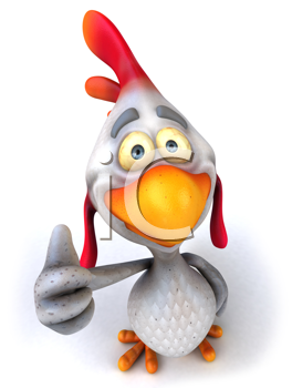 Royalty Free Clipart Image of a Chicken Giving a Thumbs Up