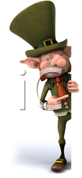 Royalty Free Clipart Image of a Pointing Leprechaun
