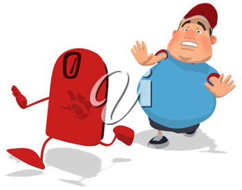 Royalty Free Clipart Image of a Man Chasing a Scale