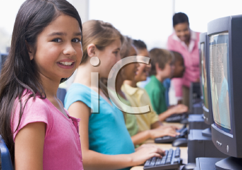 Royalty Free Photo of Students in a Computer Class