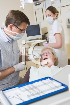 Royalty Free Photo of a Dentist and Patient