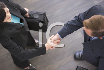 Royalty Free Photo of a Man and Woman Shaking Hands