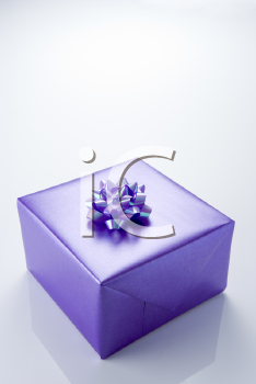 Royalty Free Photo of a Present Wrapped in Purple Paper