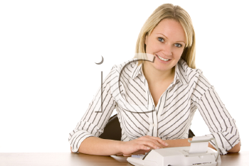 Royalty Free Photo of a Woman Using an Adding Machine