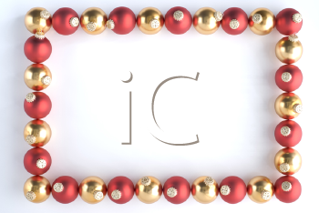 Border Made From Red And Gold Baubles Against White Background