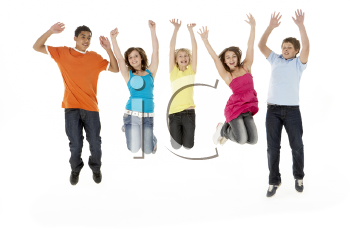 Royalty Free Photo of a Group of Jumping Children