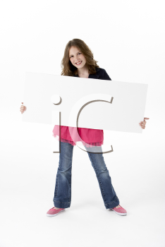 Royalty Free Photo of a Girl With a Blank Card