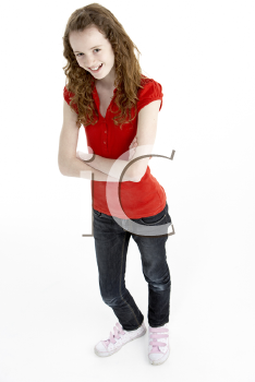 Royalty Free Photo of a Young Girl in a Red Top