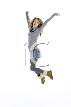 Royalty Free Photo of a Young Girl Jumping
