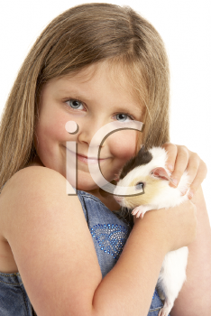 Royalty Free Photo of a Youngster Holding a Guinea Pig