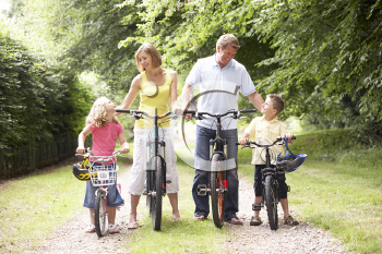 Royalty Free Photo of a Family Cycling