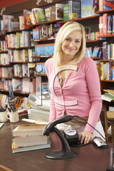Royalty Free Photo of a Woman Working in a Bookshop