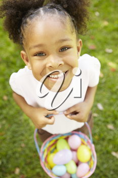 Young  girl with Easter eggs