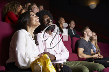 Couple In Cinema Watching Comedy Film