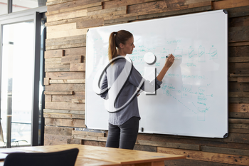 Young woman in an office writing on a whiteboard