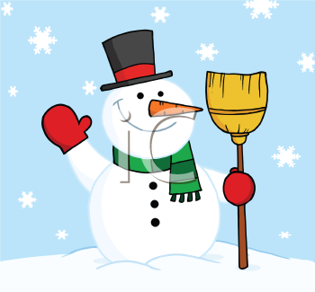 Royalty Free Clipart Image of a Waving Snowman With a Broom