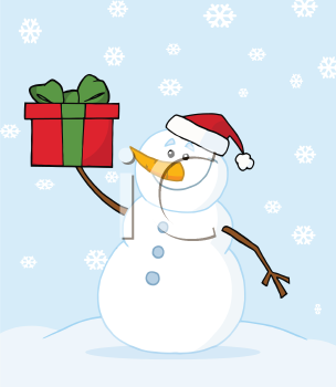 Royalty Free Clipart Image of a Snowman With a Gift