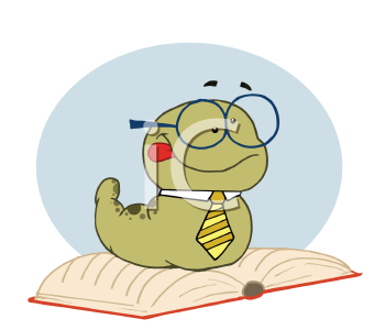 Royalty Free Clipart Image of a Worm on a Book