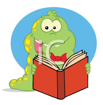 Royalty Free Clipart Image of a Worm With a Book