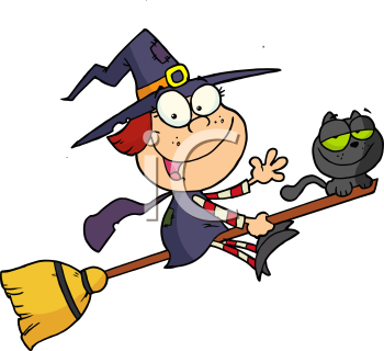 Royalty Free Clipart Image of a Witch Riding a Broomstick with a Black Cat