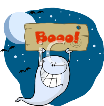 Royalty Free Clipart Image of a Ghost Holding a Boo Sign