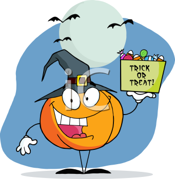 Royalty Free Clipart Image of a Pumpkin Holding a Bag of Candy