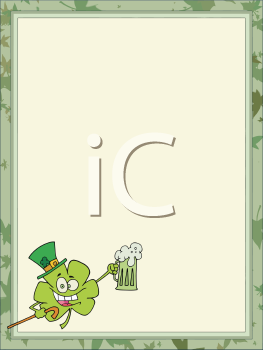 Royalty Free Clipart Image of a Saint Patrick's Background With a Shamrock Holding a Beer