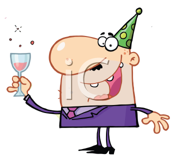 Royalty Free Clipart Image of a Man Holding a Glass of Wine