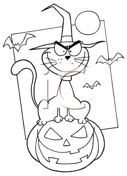 Royalty Free Clipart Image of a Cat on a Jack-o-Lantern