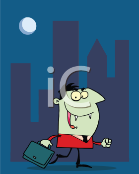 Royalty Free Clipart Image of a Vampire Businessman in the City