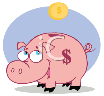 Royalty Free Clipart Image of a Coin Going Into a Piggy Bank