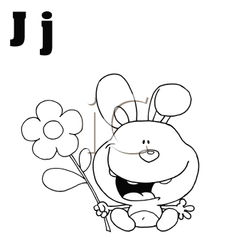 Royalty Free Clipart Image of J is for Rabbit