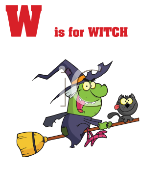 Royalty Free Clipart Image of W is for Witch